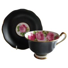 Royal Albert Old English Rose Matte Black Gold Teacup and Saucer