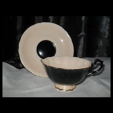 Rare Paragon DW Black and Peach Teacup and Saucer