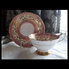 Regal Royal Stafford Pink and Gold Buckingham Teacup and Saucer