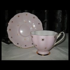 Cheerful Queen Anne Pink with Gold Stars Teacup and Saucer 5115