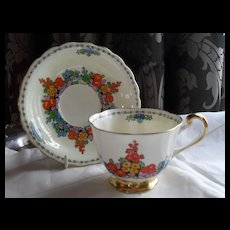 Handpainted New Chelsea Kenley Floral Teacup and Saucer