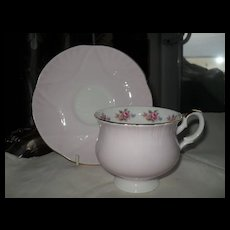 Crown Staffordshire Pink with Roses Teacup and Saucer