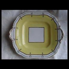Fresh Art Deco Aynsley Yellow Black Laurel Square Cake Plate 3138