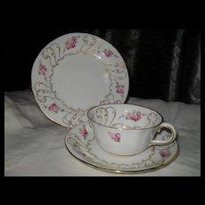 Antique Royal Crown Derby Pink Roses Teacup Saucer Plate 7300A