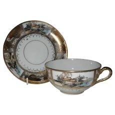 Gorgeous Nippon Paulownia Gilt Gold Scene Teacup and Saucer