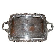 Vintage Roden Brothers Ornate Silverplated Tray with Handles
