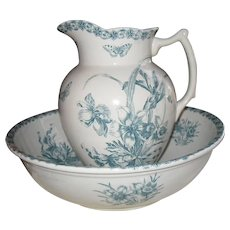 Antique French Blue Transferware Anemone Pattern Wash Basin and Pitcher