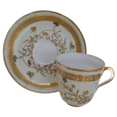 Early Brownfields Gold and Silver Insects Demitasse Cup and Saucer