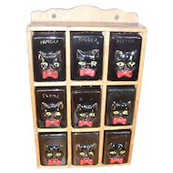 Vintage Shafford Nine Piece Black Cat Spice Rack Red Bow Ties
