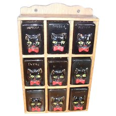 Vintage Nine Piece Black Cat Spice Rack Red Bow Ties