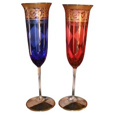 Superb Pair of Gold Toasting Champagne Flutes