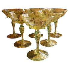 Six Venetian Martini Champagne Glass Yellow Gold Fleck