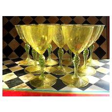 Nine Venetian Wine Glass Goblet Yellow Gold Fleck