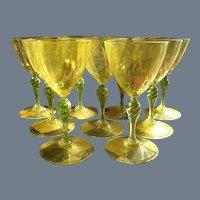 Nine Salviati Venetian Wine Glass Goblet Yellow Gold Fleck