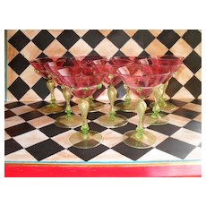 Nine Venetian Wine Goblet Cranberry Gold Fleck