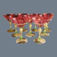 Nine Salviati Venetian Wine Goblet Cranberry Gold Fleck