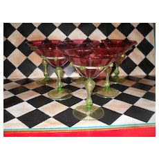 Six Venetian Wine Martini Glass Cranberry Gold Fleck