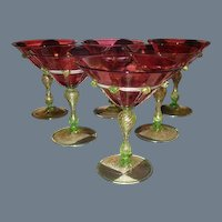 Six Salviati Venetian Wine Martini Glass Cranberry Gold Fleck