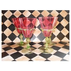 Four Venetian Wine Water Glass Cranberry Gold Fleck