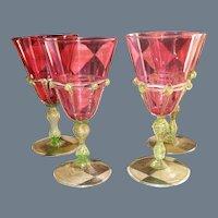 Two Salviati Venetian Wine Water Glass Cranberry Gold Fleck