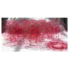 Twelve Venetian Glass Cranberry Gold Fleck Cocktail Plates