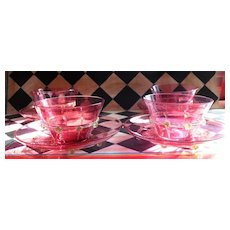 Four Venetian Glass Bowl and Underplate Cranberry Gold Fleck