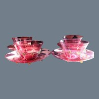Four Salviati Venetian Glass Bowl and Underplate Cranberry Gold Fleck