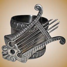 Antique Figural Lyre Victorian Napkin Ring Holder