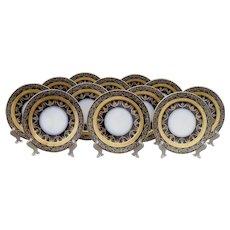 Set of 12 Antique Limoges Gold Encrusted Cobalt Dinner Plates