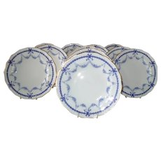 Set of 11 Royal Crown Derby Blue Bows #4680 Plates