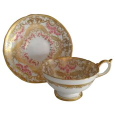 Gorgeous Aynsley Pink and Gold Cabinet Teacup and Saucer