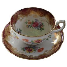 Classic Hammersley England Floral Burgundy Teacup and Saucer