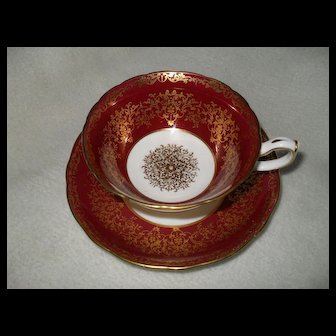 Elegant Hammersley Red Burgundy Gold Cabinet Cup and Saucer