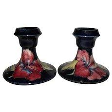 Classic Pair of Moorcroft Hibiscus Candlesticks