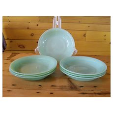 Anchor Hocking Fire King Jadeite Jane Ray Soup Bowl Signed