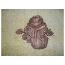 Vintage Rose Three Dimensional Small Wooden Wall Sculpture