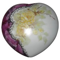 Handpainted Limoges Yellow Rose Heart Trinket Box