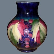William Moorcroft Leaf and Berry on Cobalt Pottery Vase 1930's Her Majesty's Potter