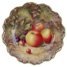Royal Worcester Fruit Study Encrusted Gold Cabinet Plate Sgnd H Ayrton