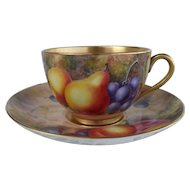 Royal Worcester Fruit Study Gold Encrusted Teacup/Saucer Sgnd Freeman