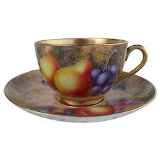 Royal Worcester Fruit Study Gold Encrusted Teacup/Saucer Sgnd Freeman