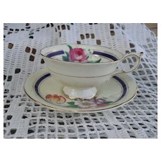 Vintage Paragon DW Queen Mary Floral Teacup and Saucer