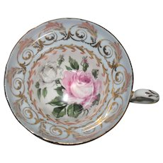 Lovely EB Foley White Pink Roses Lavender Blue Gold Teacup and Saucer
