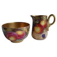 Royal Worcester Fruit Study Gold Encrusted Creamer and Sugar Sgnd Freeman