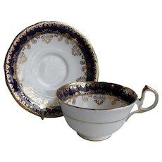 Aynsley Gold Cobalt Blue Teacup and Saucer