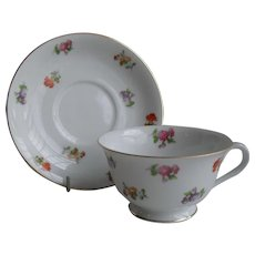 Noritake Occupied Japan Spring Flowers Teacup and Saucer