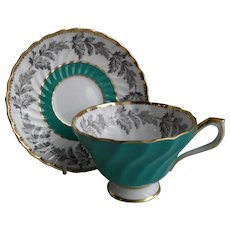 Aynsley Green Swirl Silver Leaf Teacup and Saucer