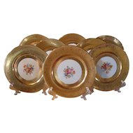 Gold Encrusted Set of 8 Bavaria Flowers Dinner Plates