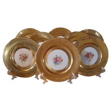 Gold Encrusted Set of 8 Bavaria Flowers Dinner Plates