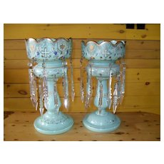 Victorian Mint Green Glass Mantel Lusters Lustres